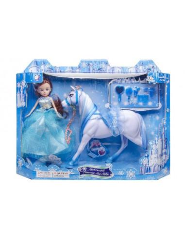 Pop+paard in blauwe doos. l
